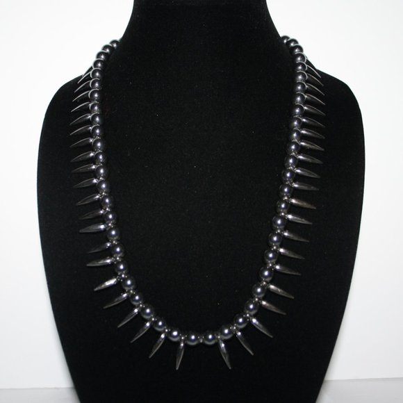 Stunning Spiked hematite necklace 24""
